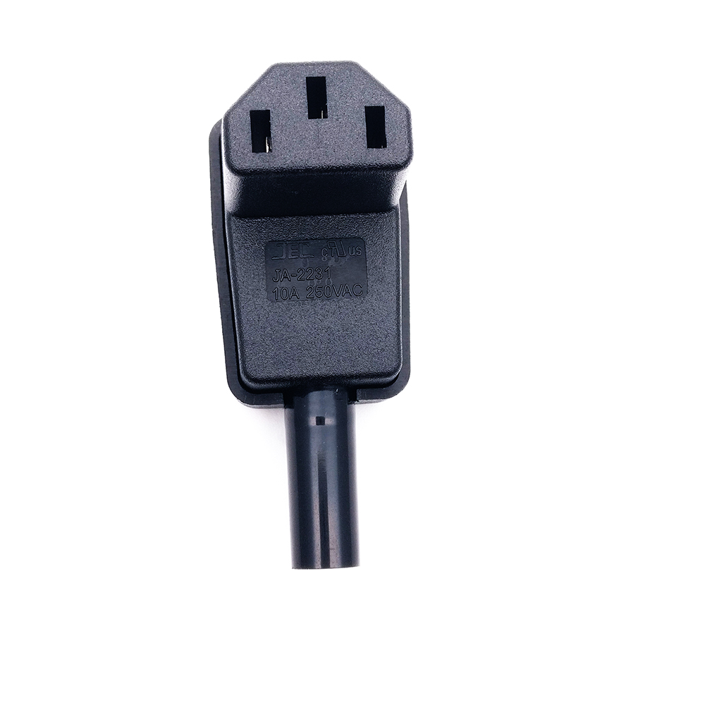90 Degree Angled IEC 320 C13 Female Plug AC 10A 250V Power Cord Cable C