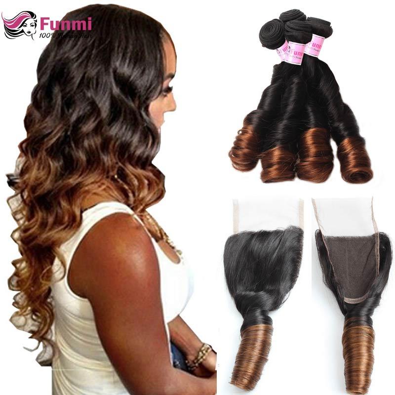 1B/4 Ombre Bundles With Closure Brailian Bouncy Curly Hair Bundles With Closure Funmi Virgin Human Hair Bundles With Closure