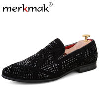 Merkmak Luxury Brand Men Loafers Handmade Leather Italian Loafers Flat Casual Shoes Driving Mocassins Party Wedding