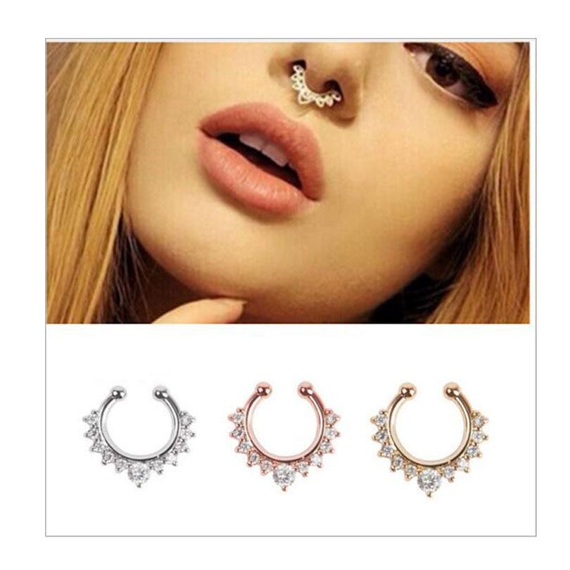 1pcs Zinc Alloy Fake Septum Jewelry Zirconia Fake Nose Ring Studs
