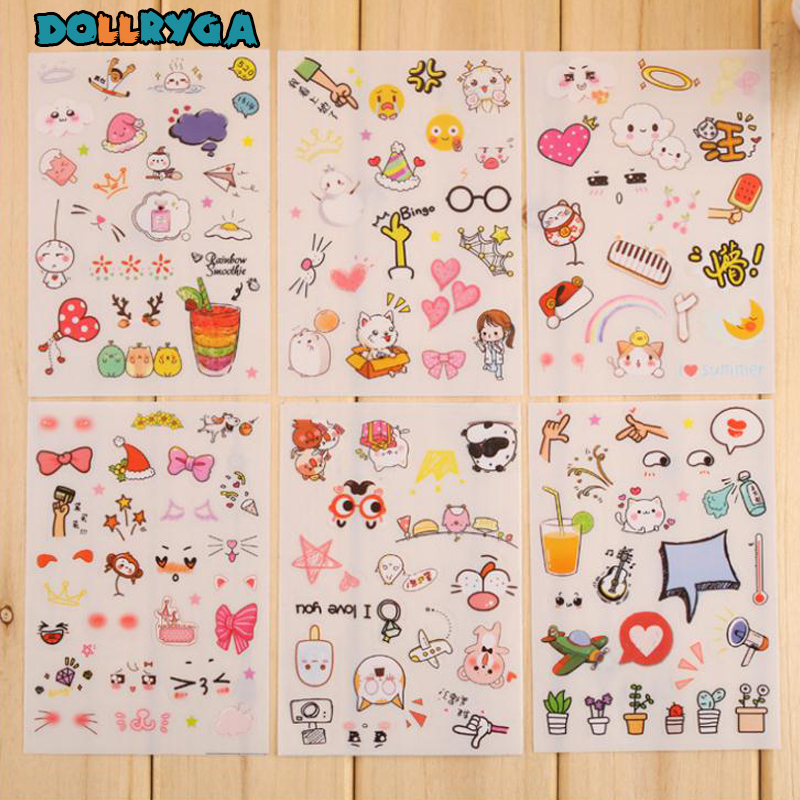 DOLLRYGA DIY Stickers Children Stickers Toys Cartoon Animal Pattern Kids Craft Decoration Pasting Bricolage Enfant Stickers 6pcs
