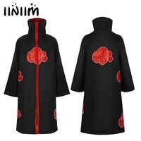 Iiniim Damen Herren Halloween Kostüme für Erwachsene Uchiha Itachi Cosplay Party Naruto Akatsuki Cape Zip Up Stehkragen Phantasie Mantel