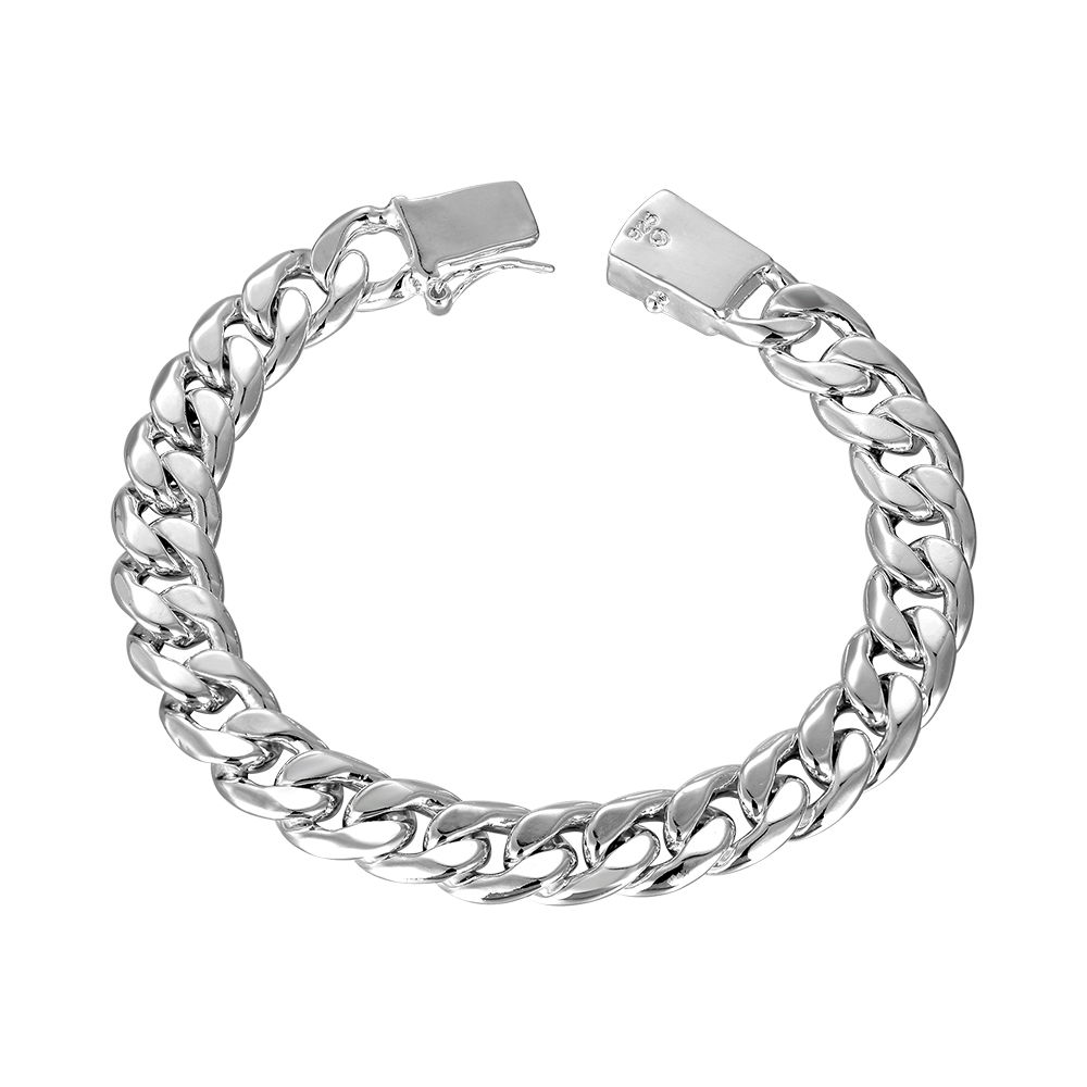 Selling 925 sterling silver jewelry hidden safety buckle geometric silver mens bracelet fashion classic neutral accessories