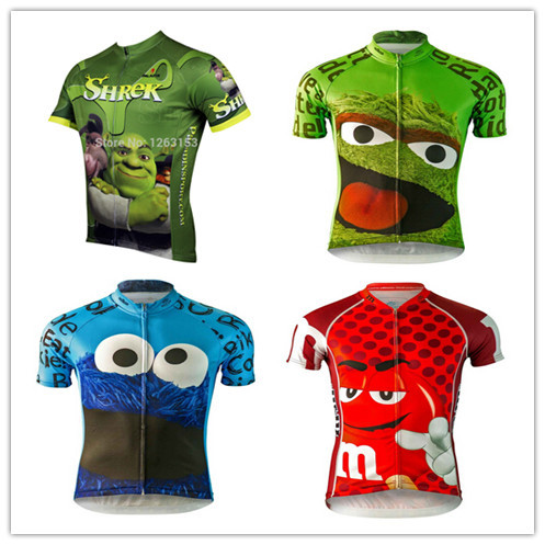 956b54041 Brainstorm Gear 2015 Men s Cookie Monster Oscar the Grouch Shrek Gumby  Cycling Jersey short sleeve jersey Bicycle Cycling