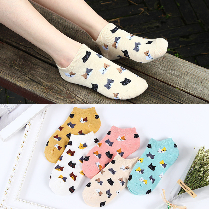 Cute Colorful Cat Cartoon   Socks   Women   Socks   Female Funny Cotton   Sock   Ladies Girls Short Kawaii Animal   Socks   Summer Low Hosiery