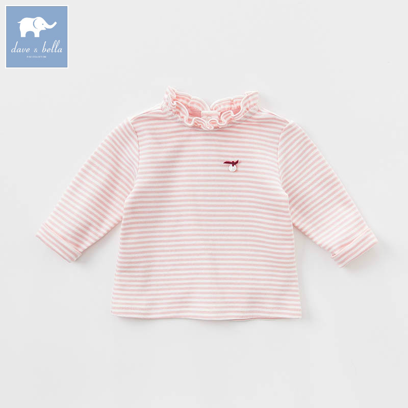 DB7375 dave bella spring infant baby girls fashion pink t-shirt kids cotton lovely tops children high quality tee