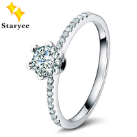 Genuine Pure 18K Solid White Gold Moissanite Engagement Rings For Women Certified 0 5Carat VVS H