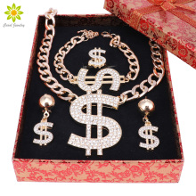 Gold Color Dollar Sign Pendant Jewelry Set Dollar With Rhinestone Pendant Necklace Earrings Ring Bracelet+Gift Boxes