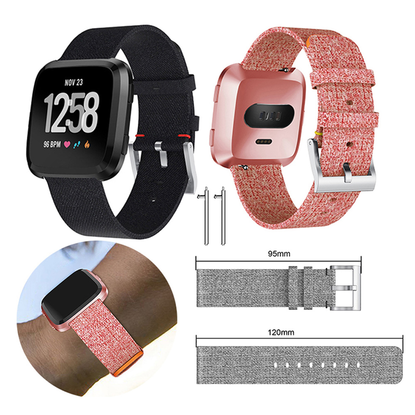 Luxury Canvas Watch Band For Fitbit Versa Straps Nylon Replacement Strap For Smartwatch Bracelet Smart Bracelets Watch Loop fitbit watch