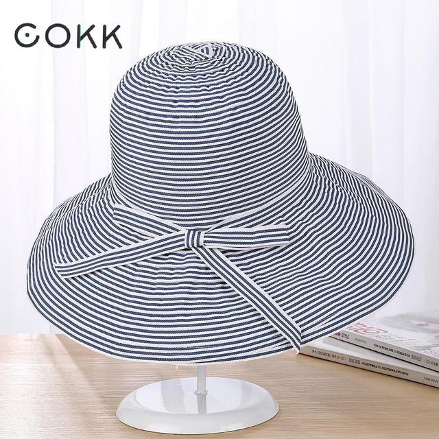 bb8832868cb COKK Sun Hat Summer Hats For Women Stripe Bow Large Wide Brim Foldable  Floppy Beach Panama