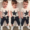 2016 Infant clothes toddler children summer baby boys clothing sets cartoon 2pcs Stars stripes clothes sets boys summer set