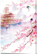 Chinese ancient city tower peach landscape costume paintings by numbers on canvas oil painting  coloring