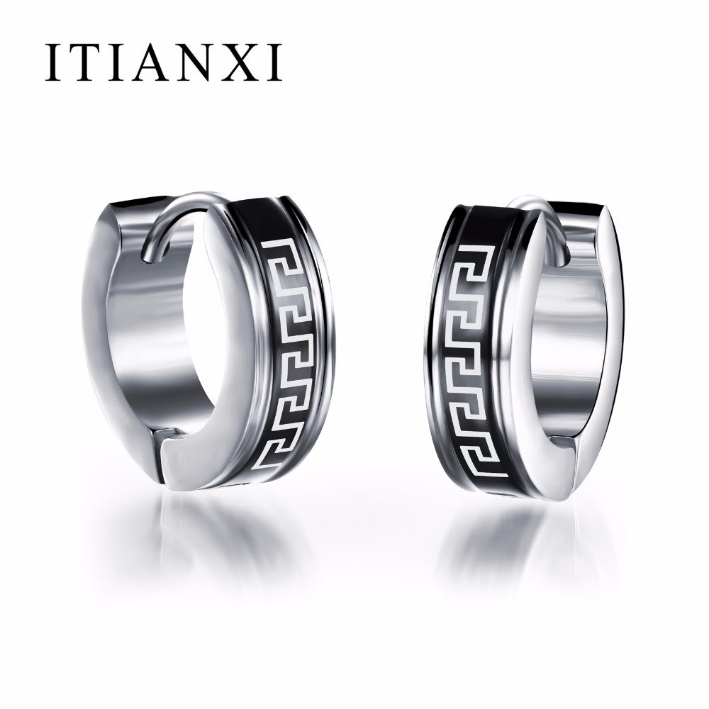 ITIANXI Factory Price! Men Earrings Hot Sell Jewelry 316L Stainless Steel Stud Earring Greek Key High Quality Wholesale