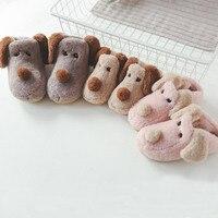2018 Winter Kids Home Slippers Baby Boys Girls Cute Cartoon Dog Cotton Shoes Warm Slippers Children
