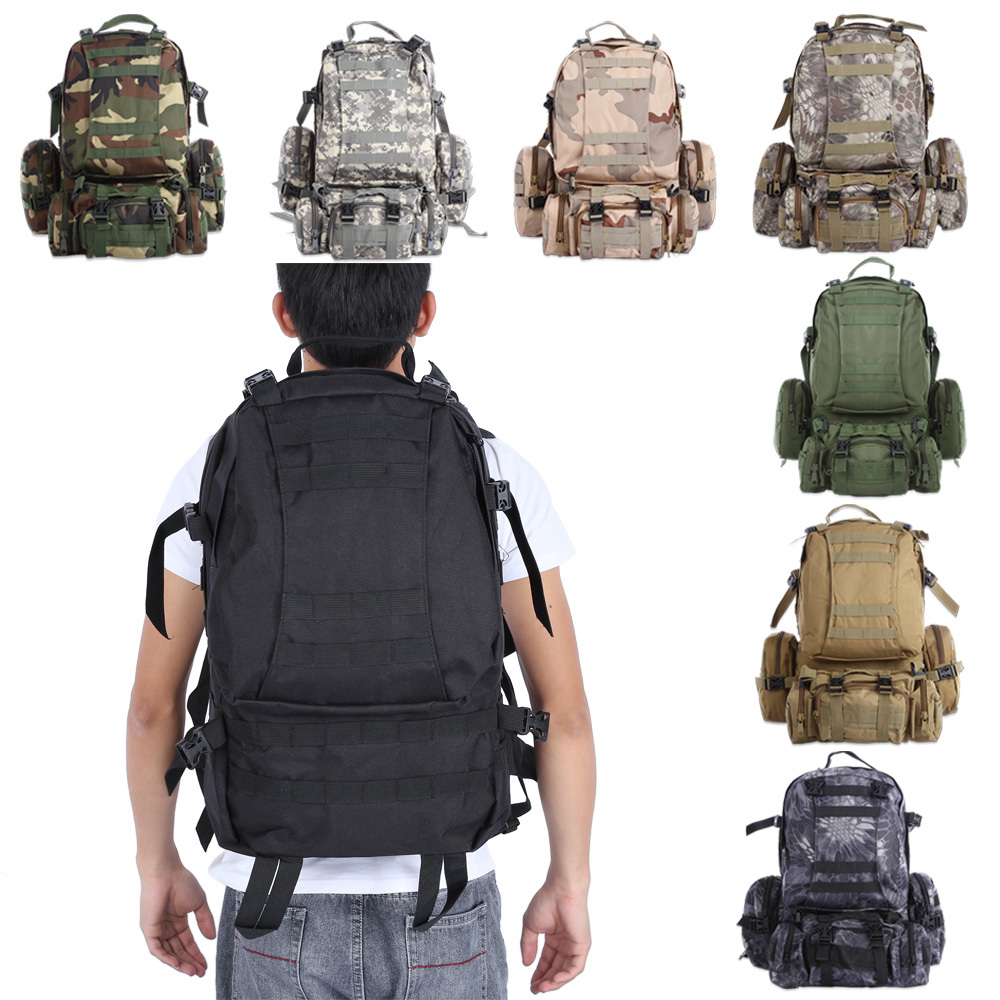 50L Men's Outdoor Tactical Military Backpack Multifunction Sports Molle Double Shoulder Bag Water Resistant Waterproof Rucksack 3d tactical outdoor double shoulder backpack knapsack bag black