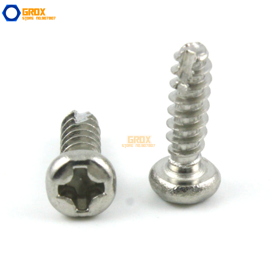 M3 Pan Head Phillips Cut Tail Screw 304 Stainless Steel Self Tapping 500pcs lot din7985 stainless steel 304 m3 phillips pan round head machine screw kit m3 5 6 8 10 12