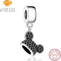 WYBEADS 925 Sterling Silver Cartoon Mouse Charms Headband Ear Hat CZ Pendant European Bead Fit Bracelet