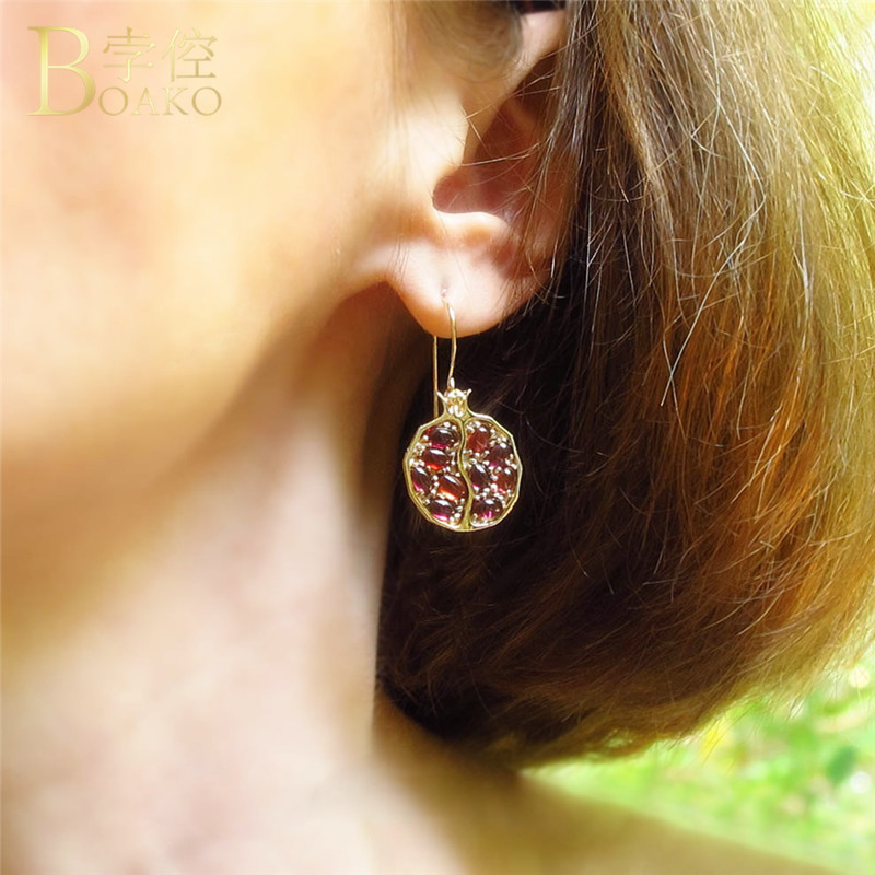 Luxury Purple Female Crystal Stone Earrings Fashion Jewelry Vintage Pomegranate Earrings For Women pendientes mujer brincos S4 in Drop Earrings from Jewelry Accessories