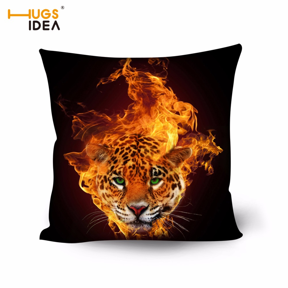 Outstanding Us 7 99 20 Off Hugsidea Flame Sofa Pillow Case 3D Blaze Tiger Bed Car Pillow Cover Raging Fire Pattern Household Office Chair Back Cushion Case In Dailytribune Chair Design For Home Dailytribuneorg