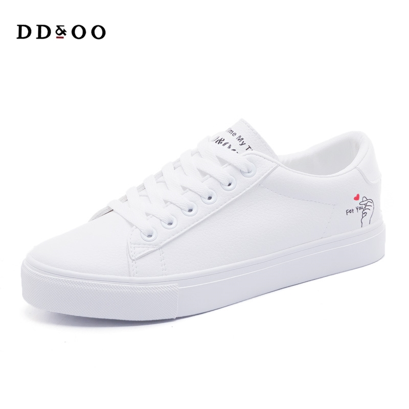 2018 spring new fashion shoes woman casual classic color PU leather shoes women casual fashion flats white shoes cute sneakers цена и фото