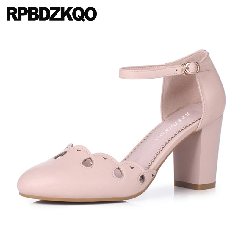 3 Inch Ankle Strap Women Pumps High Heels Pink Genuine Leather Lolita Fashion Shoes White Round Toe Chunky Cute Sweet Sandals princess sweet lolita shoes royal harajuku pink strawberry bell cute bow round toe pumps for young girl custom color can choose