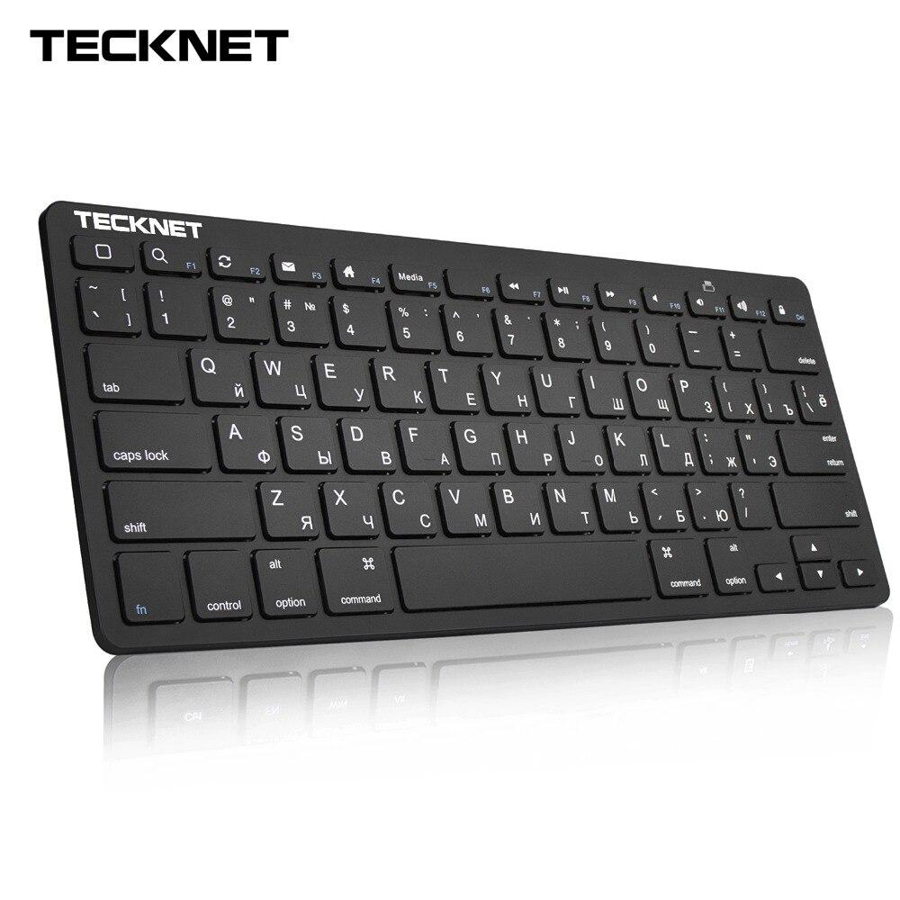 TeckNet 2,4 GHz Wireless ruso teclado Delgado USB teclados teclas diseño para Android Smart TV Windows 10 8 7 XP Vista