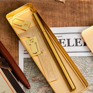 Image 5 - vintage Brass Handcrafted Pen Pencil Case Holder Stationery Storage Box Stationery Container Creative school Office Supplies