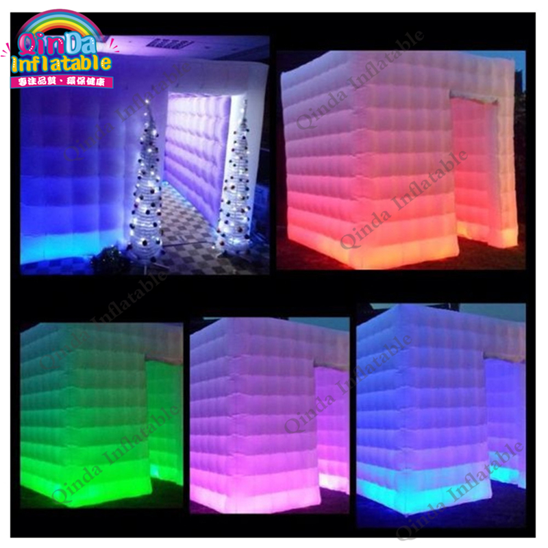 Photo booth wedding inflatable photo booth tent ,camping cube tent with colorful LED tube lights inside from photo booth  free shipping 3x3x2 4m inflatable photo booth cube inflatable photo booth led inflatable photo booth for sale