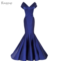 Long Evening Dress 2017 Sexy Mermaid Cap Sleeve V Neck Sleeveless Royal Blue Women Arabic Formal