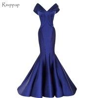 Long Evening Dress 2019 Sexy Mermaid Cap Sleeve V neck Sleeveless Royal Blue Women Arabic Formal Evening Gowns