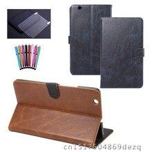 Cuero de la pu case para huawei mediapad m3 btv-w09 btv-dl09 8.4 pulgadas case cubierta de la cubierta de la tableta soporte de smart sleep funda + film + pluma