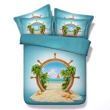 6 Parts Per Set Bed Sheet Set Beach Theme Castaway on Desert Oasis 3d Bedding Set