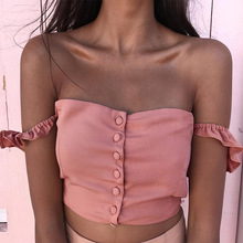 Summer new fund pink shows back one word to get condole take vest woman falbala is short paragraph slim body small