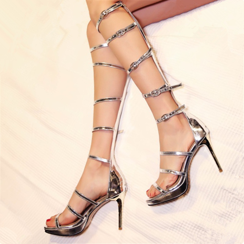 size 34-43 genuine leather sandals Knee Thin high heels gladiator Cool boots women long section Platform pumps Party Rome shoes patent leather knee high fashion women boots buckle strap cool motorcycle boots thin high heels cut outs sandals boots shoes
