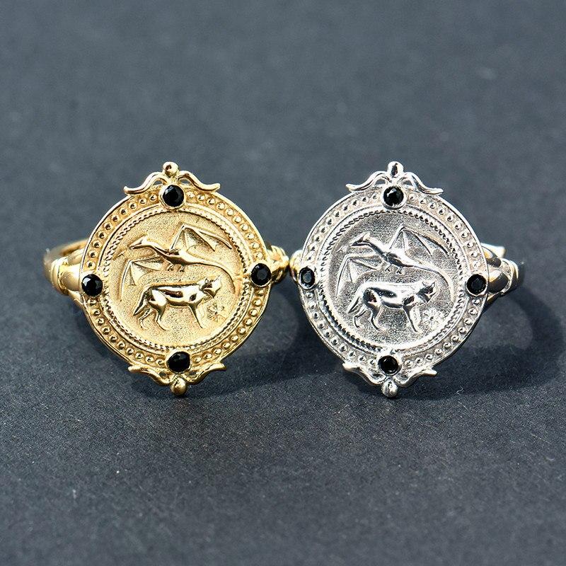 Creative réglable jeu de trônes anneaux forme de pièce anneaux Totem Dragon Wolf pour femmes hommes charme cadeaux bijoux de mode