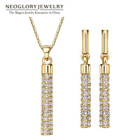 Neoglory MADE WITH SWAROVSKI ELEMENTS Rhinestone With Statement Necklaces Earrings Jewelry Sets For Women Bridal Wedding