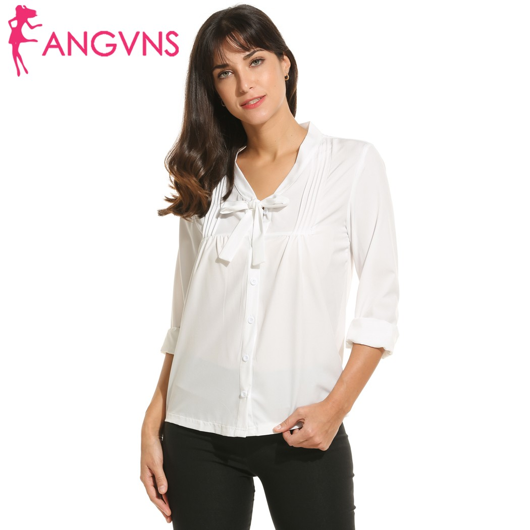 347f1f0f ANGVNS Women Bow V-Neck Pleated Front Blouse Shirt OL Casual Long Sleeve  Button Ladies Blouse Office Bussiness Blasus Tops