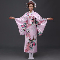 Vintage Party Dress Women Sexy Satin Kimono Yukata With Obi Performance Dance Dress Japanese Cosplay Costume One Size