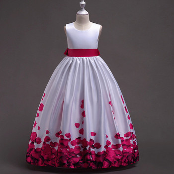 BacklakeGirls 2019 New Arrivals Free Shipping Satin Flower Printing Flower Girl Dresses Sleeveless With Sashes For Wedding Party