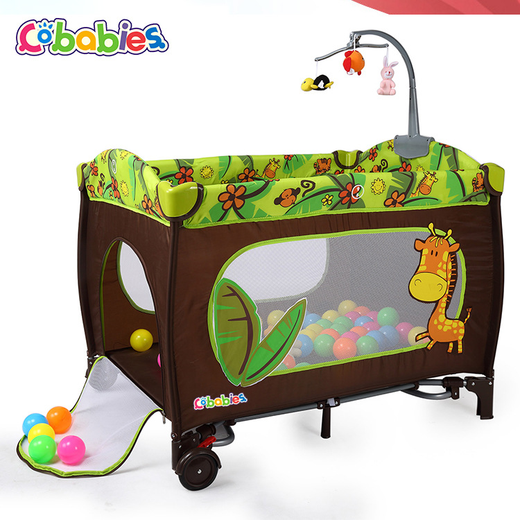 Newborn cribs portable foldable baby bed height adjustable 0-3 children's play bed