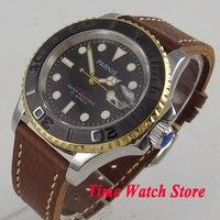 41 мм Parnis мужские часы черный циферблат светящиеся сапфировое стекло матовый керамический ободок miyota автоматические наручные часы для мужч