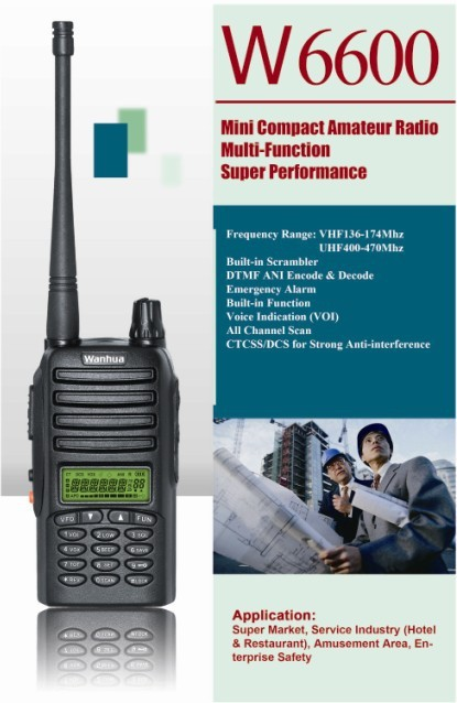 Hot Selling Super Long Communication Distance, WANHUA W6600, Protable walkie talkie, FREE SHIPPING, 136~174MHz,400~470MHz