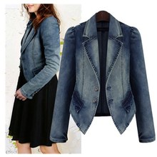 Spring Vintage Women Denim Jacket Solid Blue Denim Short Basic