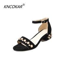 2017 summer New heat sales fashion velvet button belt sandals female high heeled thick heel pearl rivet gem women sandals