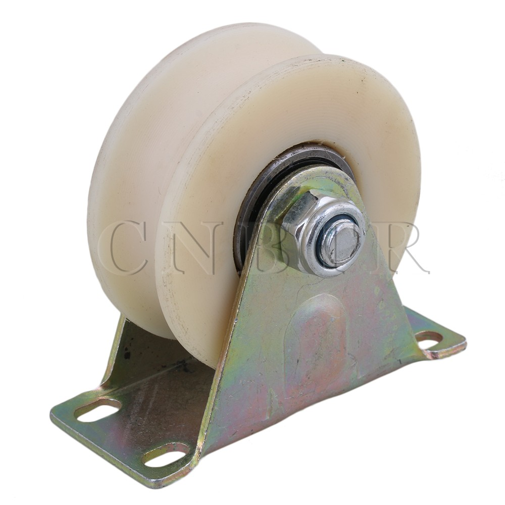 CNBTR 3 Dia Beige 45# Steel Nylon U Groove Fixed Caster Track Roller Wheel Top Plate Load 300KG for Industrial Machine Tool clos 33mm metal mounted plate 38mm plastic dual wheel rotatable caster