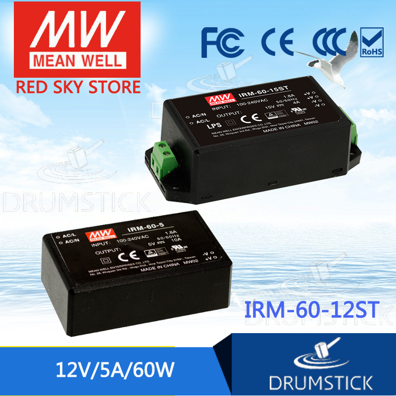 MEAN WELL IRM-60-12ST 12V 5A meanwell IRM-60 12V 60W Screw terminal style genuine mean well irm 60 12st 12v 5a meanwell irm 60 12v 60w screw terminal style