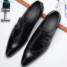 QYFCIOUFU Genuine Leather Buckle Dress Shoes Men Slip On Office Shoes Pointed Toe Formal Shoes Italian Brand Mens Wedding Shoe berdecia new mens glitter wedding shoes italian pointed toe mens shoes slip on oxford shoes for men