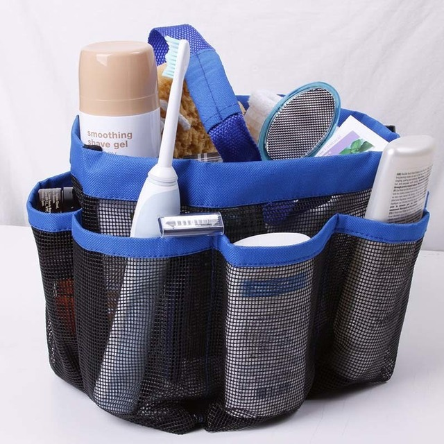 Quick Dry Storage Bags Hanging Mesh Bathroom Bag Shower Tote Caddy Cosmetics Organizer With 8 Pockets