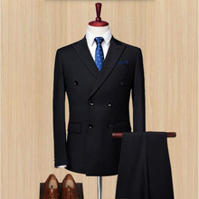 New mens suits arrival men suits black bridegroom suits tuxedos double breasted wedding groomsman prom dress suits(jacket+pants)