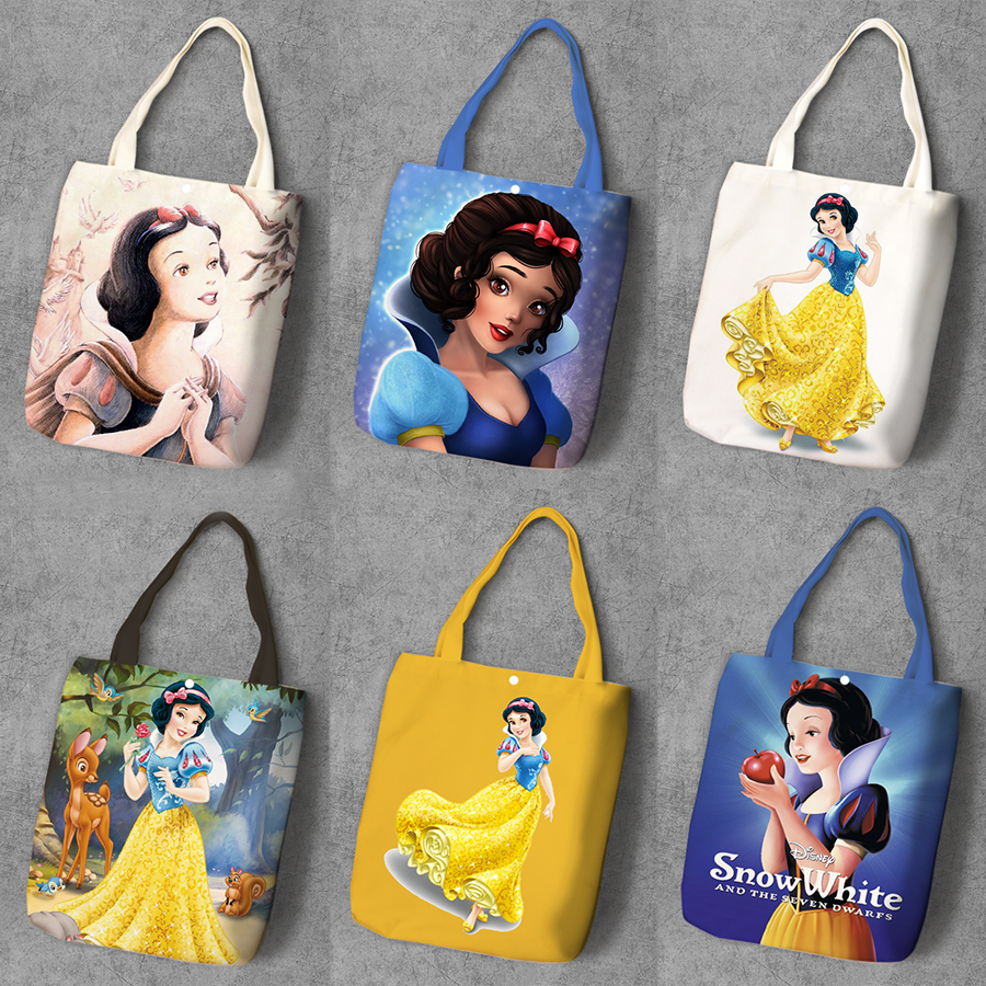 Snow White and Seven Dwarfs Cartoon Printed Recyle Canvas Shopping Bag Large Capacity Tote Fashion Ladies Casual Shoulder Bags